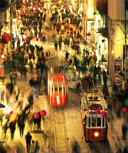 Trams and people rushing by, Sina Demiral (Istanbul, Turkey), Photographed October 2006, Istanbul, Turkey