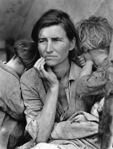 Фотография Флоренс Оуэнс Томпсон, ввергнутой в нищету во время Великой депресии, 1936, Dorothea Lange/Corbis