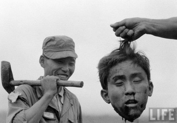 Голова убитого северокорейского партизана во время конфликта между Северной Кореей и Южной Кореей. 1952г.